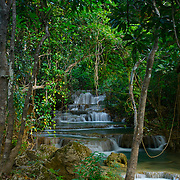 Waterfall at Mae Khamin in the Khuean Srinagarindra National Park in Kanchanaburi, Thailand, February 2007.