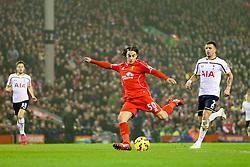 Liverpool's Lazar Markovic scores the opening goal  - Photo mandatory by-line: Matt McNulty/JMP - Mobile: 07966 386802 - 10/02/2015 - SPORT - Football - Liverpool - Anfield - Liverpool v Tottenham Hotspur - Barclays Premier League
