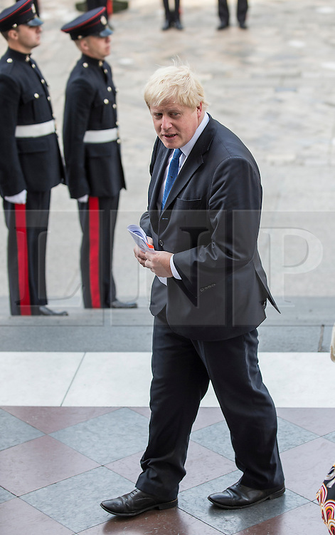 © London News Pictures. 18/06/2015. London, UK. Boris Johnson arrives at a service of commemoration at St Paul's Cathedral to mark the 200th Anniversary of the Battle of Waterloo.   Photo credit: Sergeant Rupert Frere/LNP