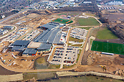 Aerial photograph of the new Verona Area High School under construction. Verona, Wisconsin, USA.