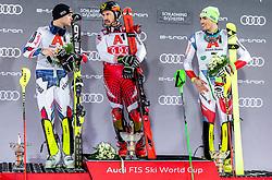 "29.01.2019, Planai, Schladming, AUT, FIS Weltcup Ski Alpin, Slalom, Herren, Siegerehrung, im Bild Alexis Pinturault (FRA, zweiter Platz) Marcel Hirscher (AUT, Sieger) Daniel Yule (SUI, dritter Platz) // during the winner Ceremony for the men's Slalom ""the Nightrace"" of FIS ski alpine world cup at the Planai in Schladming, Austria on 2019/01/29. EXPA Pictures © 2019, PhotoCredit: EXPA/ Erich Spiess"