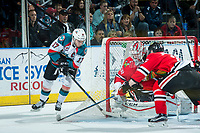 KELOWNA, CANADA - APRIL 8: Rodney Southam #17 of the Kelowna Rockets attempts a wrap around goal on Cole Kehler #31 of the Portland Winterhawks on April 8, 2017 at Prospera Place in Kelowna, British Columbia, Canada.  (Photo by Marissa Baecker/Shoot the Breeze)  *** Local Caption ***