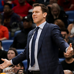 Mar 31, 2019; New Orleans, LA, USA; Los Angeles Lakers head coach Luke Walton during the second half against the New Orleans Pelicans at the Smoothie King Center. Mandatory Credit: Derick E. Hingle-USA TODAY Sports