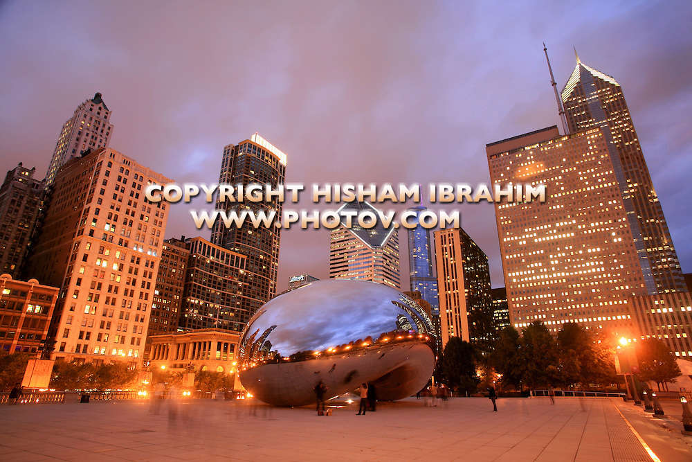 Cloud Gate, Millennium Park at night, Chicago, IL, USA