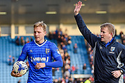 Gillingham midfielder Josh Wright (44) scores a Hat-Trick of penalties and keeps the match ball and walks off with Gillingham  manager Adrian Pennock after the EFL Sky Bet League 1 match between Gillingham and Scunthorpe United at the MEMS Priestfield Stadium, Gillingham, England on 11 March 2017. Photo by Martin Cole.