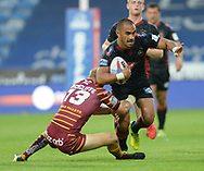 Ryan Hinchcliffe of Huddersfield Giants stops Thomas Leuluai of Wigan Warriors during the Betfred Super League match at the John Smiths Stadium, Huddersfield<br /> Picture by Richard Land/Focus Images Ltd +44 7713 507003<br /> 12/07/2018
