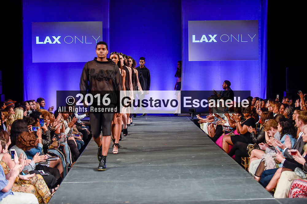 NEW ORLEANS FASHION WEEK 2016: NOFW6, New Orleans Fashion Week with Designer Kayla St. Blanc and Jay Cav (Jermaine Cavalier) of LAX ONLY showcasing their design work at the New Orleans Board of Trade on Saturday March 19, 2016. &copy;2016, Gustavo Escanelle, All Rights Reserved. &copy;2016, MOI MAGAZINE, All Rights Reserved.<br /> <br /> #nofw6 #Kayla St. Blanc #Jay Cav #jermaine Cavalier #LAXONLY #LAX ONLY