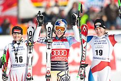 12.03.2010, Kandahar Strecke Damen, Garmisch Partenkirchen, GER, FIS Worldcup Alpin Ski, Garmisch, Lady SuperG, im Bild v.l. zweitplazierte Goergl Elisabeth, ( AUT, #16 ), Ski Head, erstplazierte Vonn Lindsey, ( USA, #22 ), Ski Head und drittplazierte Styger Nadia, ( SUI, #19 ), Ski Voelkl, EXPA Pictures © 2010, PhotoCredit: EXPA/ J. Groder / SPORTIDA PHOTO AGENCY