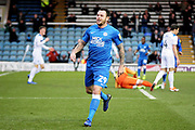goalscorer Peterborough Utd's Lee Tomlin (29) celebrates his goal 1-0 during the EFL Sky Bet League 1 match between Peterborough United and Rochdale at London Road, Peterborough, England on 12 January 2019.