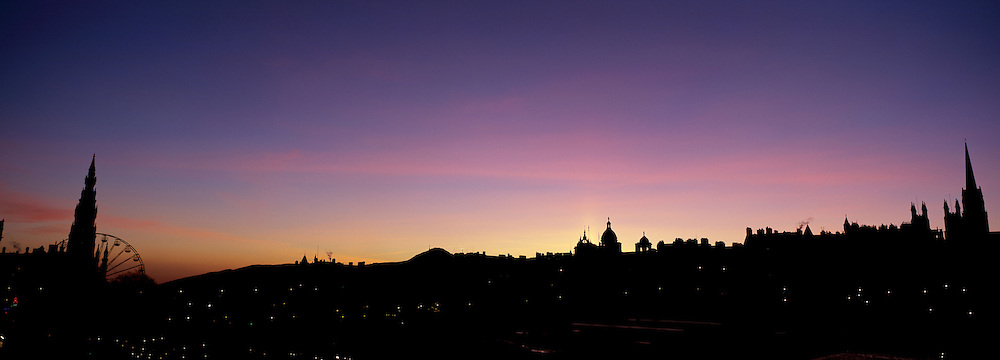 Winters Dawn over Edinburgh from Princes Street