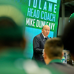 Mar 29, 2016; New Orleans, LA, USA; Former NBA coach and general manager Mike Dunleavy Sr. during his introductory press conference to announce him as the new head coach for the Tulane Green Wave basketball team at the Delvin Fieldhouse. Mandatory Credit: Derick E. Hingle-USA TODAY Sports