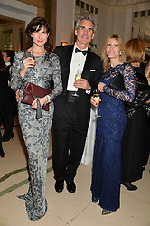 Left to right, RONNI ANCONA, GERARD HILL and SAMANTHA CORSELLIS at the Tusk Friends Dinner in aid of wildlife charity Tusk held at Claridge's, Brook Street, London on 11th March 2014.