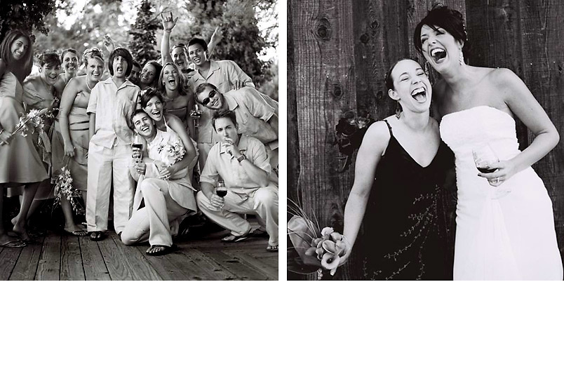 black & white film wedding photographer at faulkner winery in temecula. wedding party candids laughing bride and wedding party