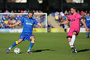 AFC Wimbledon defender George Francomb (7) crossing the ball during the EFL Sky Bet League 1 match between AFC Wimbledon and Southend United at the Cherry Red Records Stadium, Kingston, England on 25 March 2017. Photo by Matthew Redman.