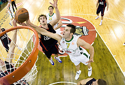 Tiago Splitter vs Sani Becirovic (7) of Olimpija at Group C of Euroleague basketball match between KK Union Olimpija, Slovenia and Caja Laboral, Spain, on November 5, 2009, in Arena Tivoli, Ljubljana, Slovenia.  (Photo by Vid Ponikvar / Sportida)
