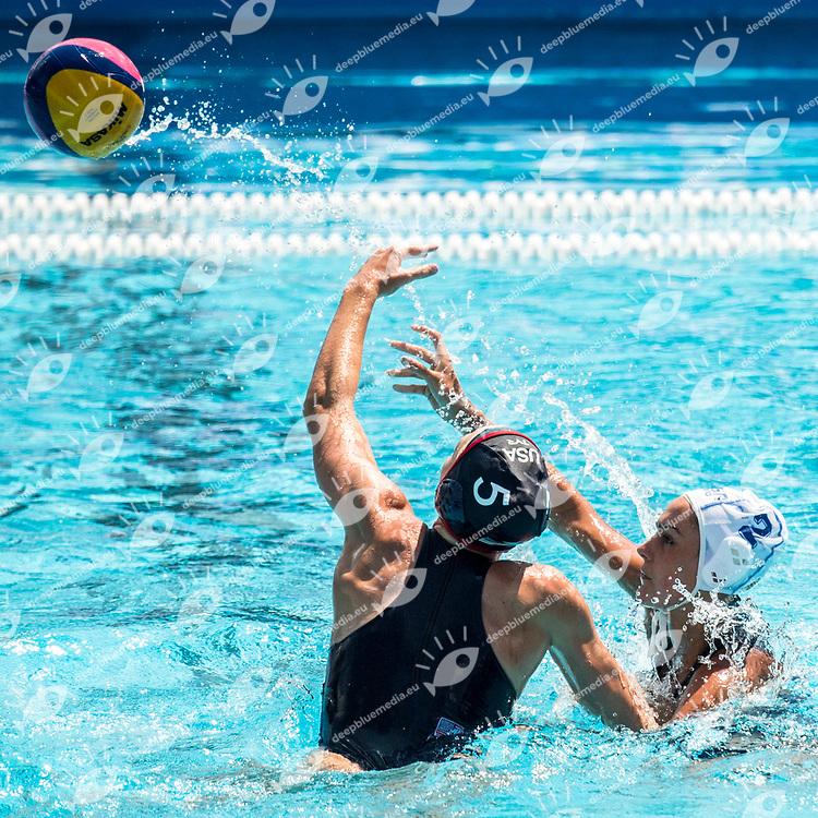 HAUSCHILD Paige USA, PENNEY Amber RSA  <br /> RSA (white cap) -  USA (blue cap)<br /> Preliminary Round Water Polo<br /> Day03  16/07/2017 <br /> XVII FINA World Championships Aquatics<br /> Alfred Hajos Complex Margaret Island  <br /> Budapest Hungary <br /> Photo @ Deepbluemedia/Insidefoto