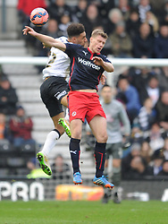 Derby Ryan Shotton Holds of Reading Pavel Pogrebnyak, Derby County v Reading, FA Cup 5th Round, The Ipro Stadium, Saturday 14th Febuary 2015