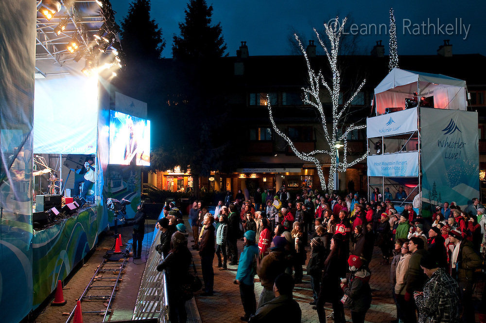 Singer Hawksley Workman performs live on the Village Square stage during the 2010 Olympic Winter Games in Whistler, BC Canada.