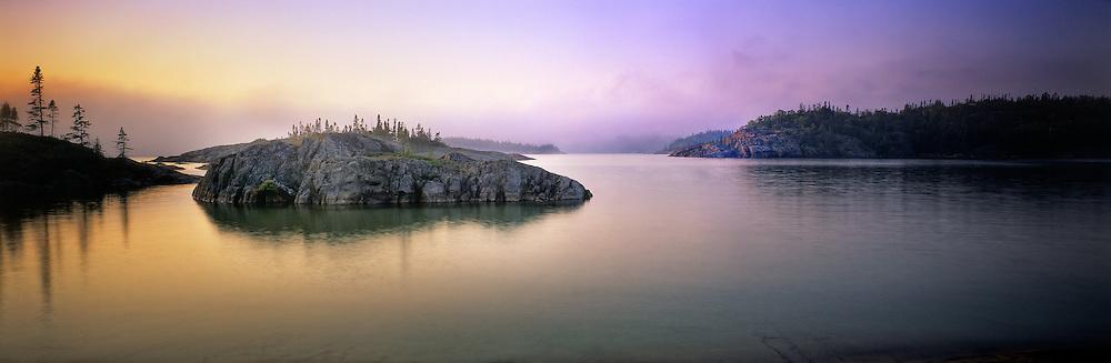 Richard Furhoff_999001_Pukaskwa-Mist.tif  .Pic Rock Harbour at Dawn, Pukaskwa National Park, Lake Superior, Ontario, Canada..