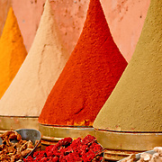 Every sort of spice is for sale in the souks of Marrakech, Morocco. Arranged in cone shapes for display, they range from cooking spices to healing spices.