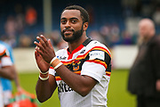 Bradford Bulls winger Iliness Macani (5) applauds the fans  during the Kingstone Press Championship match between Swinton Lions and Bradford Bulls at the Willows, Salford, United Kingdom on 20 August 2017. Photo by Simon Davies.