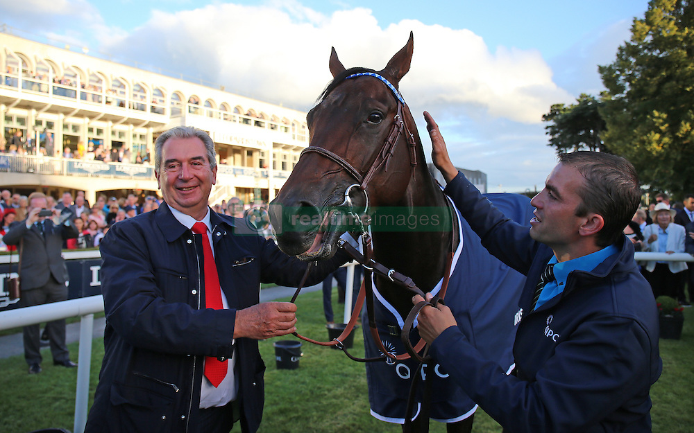 Jean-Claude Rouget trainer of Almanzor in the parade ring after winning The QIPCO Irish Champion Stakes during day one of the Longines Irish Champions Weekend at Leopardstown Races.
