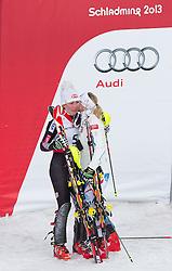 16.02.2013, Planai, Schladming, AUT, FIS Weltmeisterschaften Ski Alpin, Slalom, Damen, 2. Durchgang, im Bild Michaela Kirchgasser (AUT, 2. Platz), Mikaela Shiffrin (USA, 1. Platz) //  2nd place Michaela Kirchgasser of Austria, 1st place Mikaela Shiffrin of United States, 2nd place Michaela Kirchgasser of Austria reacts after 2nd run of the ladies Slalom at the FIS Ski World Championships 2013 at the Planai Course, Schladming, Austria on 2013/02/16. EXPA Pictures © 2013, PhotoCredit: EXPA/ Johann Groder#