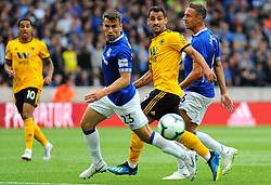 Seamus Coleman of Everton under pressure from Raul Jimenez of Wolverhampton Wanderers - Mandatory by-line: Nizaam Jones/JMP - 11/08/2018/ - FOOTBALL -Molineux  - Wolverhampton, England - Wolverhampton Wanderers v Everton - Premier League