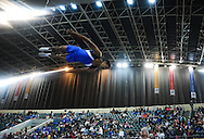 CAPE TOWN, SOUTH AFRICA - Friday 10 October 2014, Brandon Abrahams of Team Western Cape participates in the double mini trampoline during the SA Gym Games (gymnastics) held at the Bellville Velodrome and Good Hope Centre.<br /> Photo by Roger Sedres