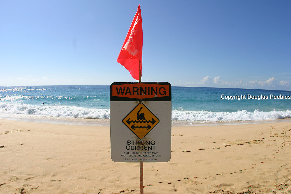 Warning sign, Sandy Beach, Oahu, Hawaii<br />