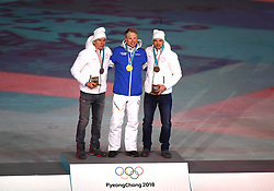 PYEONGCHANG, Feb. 25, 2018  Gold medalist Finland's Iivo Niskanen (C), silver medalist Olympic athlete from Russia Alexander Bolshunov (L) and bronze medalist Olympic athlete from Russia Andrey Larkov pose for photos during medal ceremony for men's 50km mass start classic of cross-country skiing at the closing ceremony for the 2018 PyeongChang Winter Olympic Games at PyeongChang Olympic Stadium, PyeongChang, South Korea, Feb. 25, 2018. (Credit Image: © Wang Song/Xinhua via ZUMA Wire)