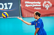 Katowice, Poland - 2017 September 02: Athlete Roberto Pizzamiglio from SO Italy serves the ball while SO Italy versus SO Belarus during European Unified Volleyball Tournament 2017 at Spodek Hall on September 02, 2017 in Katowice, Poland.<br /> <br /> Adam Nurkiewicz declares that he has no rights to the image of people at the photographs of his authorship.<br /> <br /> Picture also available in RAW (NEF) or TIFF format on special request.<br /> <br /> Any editorial, commercial or promotional use requires written permission from the author of image.<br /> <br /> Image can be used in the press when the method of use and the signature does not hurt people on the picture.<br /> <br /> Mandatory credit:<br /> Photo by © Adam Nurkiewicz / Mediasport
