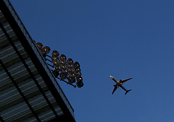 A plane flies over Craven Cottage - Photo mandatory by-line: Robbie Stephenson/JMP - Mobile: 07966 386802 - 06/03/2015 - SPORT - Football - Fulham - Craven Cottage - Fulham v AFC Bournemouth - Sky Bet Championship