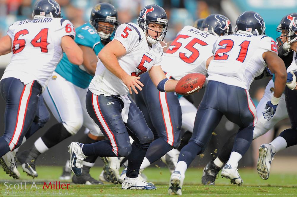 Dec. 6, 2009; Jacksonville, FL, USA; Houston Texans quarterback Rex Grossman (5) in action against the Jacksonville Jaguars at Jacksonville Municipal Stadium. ©2009 Scott A. Miller