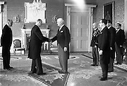 28/04/1965<br /> 04/28/1965<br /> 28 April 1965<br /> New American Ambassador presents Credentials. His Excellency Raymond Richard Guest , American Ambassador presenting his credentials to President Eamon de Valera at Aras an Uachtarain. Minister for External Affairs, Frank Aiken is on the left while the Ambassador is accompanied by Robert P. Chalker, Counsellor at the Embassy; Col. Bradford Butler Jr., Military Attache; Charalambas Stephanides, Agricultural Attache and Irving G. Cheslaw, First Secretary.
