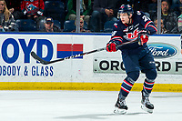 KELOWNA, BC - MARCH 7: Alex Cotton #28 of the Lethbridge Hurricanes completes a third period pass against the Kelowna Rockets at Prospera Place on March 7, 2020 in Kelowna, Canada. (Photo by Marissa Baecker/Shoot the Breeze)