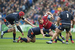 March 30, 2019 - Edinburgh, Scotland, United Kingdom - Niall Scannell of Munster tackled by Edinburgh players during the Heineken Champions Cup Quarter Final match between Edinburgh Rugby and Munster Rugby at Murrayfield Stadium in Edinburgh, Scotland, United Kingdom on March 30, 2019  (Credit Image: © Andrew Surma/NurPhoto via ZUMA Press)
