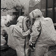 Oefening Hilversum NS+brandweer Hilversum met gevaarlijke stoffen wagon en gaspakken procedure