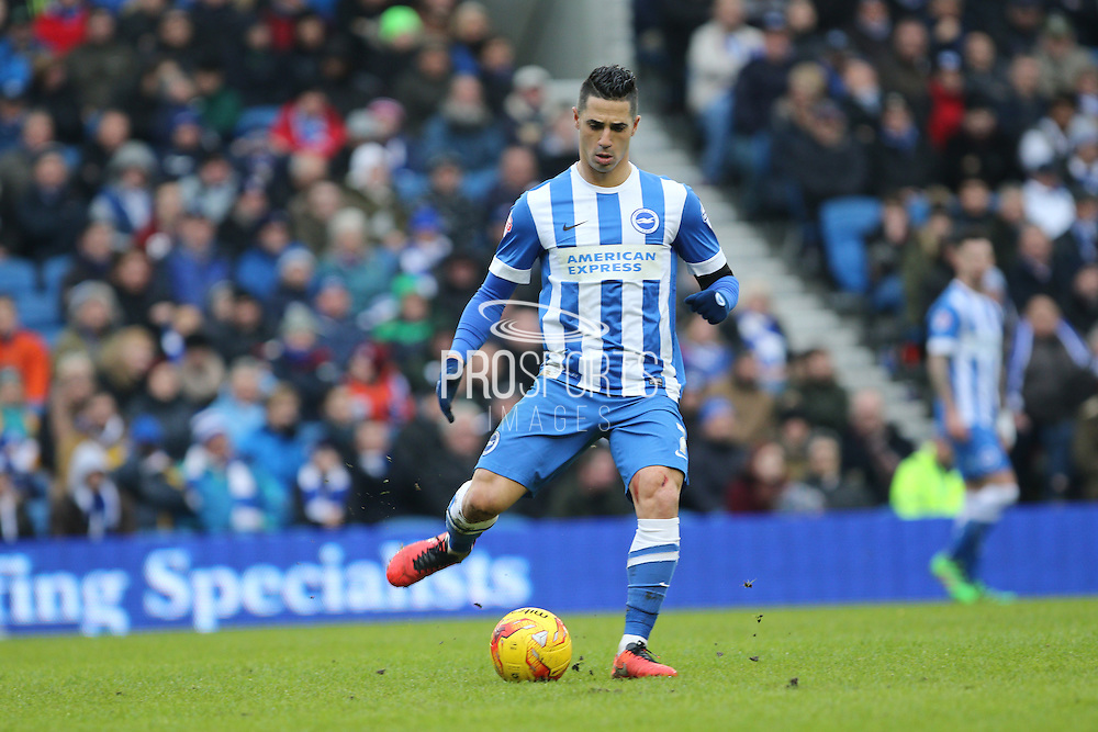 Brighton central midfielder, Beram Kayal (7) action portrait during the Sky Bet Championship match between Brighton and Hove Albion and Bolton Wanderers at the American Express Community Stadium, Brighton and Hove, England on 13 February 2016. Photo by Geoff Penn.