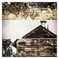 Tryptic view of aged barn