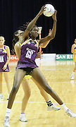Romelda Aiken has height and position over Kahurangi Waititi. ANZ Netball Championship. Round 3 - Queensland Firebirds v Central Pulse. Played at Brisbane Convention Centre. Firebirds (56) defeated the Pulse (28).  Photo: Warren Keir (SMP/Photosport NZ).<br /> <br /> Use information: This image is intended for Editorial use only (e.g. news or commentary, print or electronic). Any commercial or promotional use requires additional clearance.