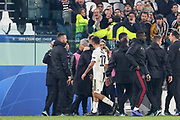 Manchester United Manager Jose Mourinho is taken off the pitch at the final whistle after argument during the Champions League Group H match between Juventus FC and Manchester United at the Allianz Stadium, Turin, Italy on 7 November 2018.