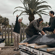 Drew Scott talks crew members prior to filming an outdoor scene during a production day for the HGTV show, Brother vs Brother, Wednesday, February 15, 2017 in Galveston, Texas. Season five of the show which features The Property Brothers, Jonathan and Drew Scott, airs later this year.<br /> <br /> Todd Spoth for The New York Times.