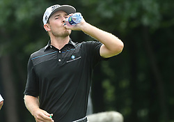 July 15, 2018 - Silvis, Illinois, U.S. - SILVIS, IL - JULY 15:  Bronson Burgoon drinks some water during a break on the #6 hole during the final round of the John Deere Classic on July 15, 2018, at TPC Deere Run, Silvis, IL.  (Photo by Keith Gillett/Icon Sportswire) (Credit Image: © Keith Gillett/Icon SMI via ZUMA Press)