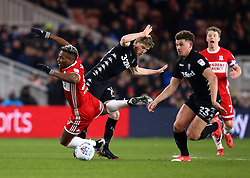 Adama Traore of Middlesbrough is fouled by Eunan O'Kane of Leeds United - Mandatory by-line: Robbie Stephenson/JMP - 02/03/2018 - FOOTBALL - Riverside Stadium - Middlesbrough, England - Middlesbrough v Leeds United - Sky Bet Championship