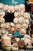 12 FEBRUARY 1987, OCHO RIOS, JAMAICA: Hats for sale in the market in Ocho Rios, Jamaica, Feb. 1987..PHOTO BY JACK KURTZ
