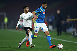 February 21, 2019 - Rome, Italy - SSC Napoli v FC Zurich - UEFA Europa League Round of 32.Salim Khalif of Zurich and Faouzi Ghoulam of Napoli at San Paolo Stadium in Naples, Italy on February 21, 2019. (Credit Image: © Matteo Ciambelli/NurPhoto via ZUMA Press)