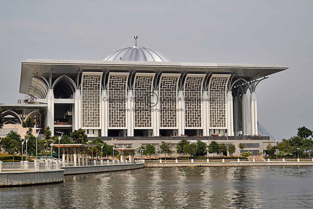 Masjid Sultan Al-Mizan, Putrajaya, Malaysia.  Known as the Steel Mosque, or Masjid Besi, because of extensive use of steel in building and decoratiion.  Construction is nearing completion.