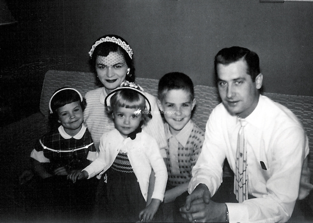 Historical image of Archbishop Robert J. Carlson and Mom, Dad sisters Cathy and Patty approx 1953