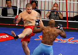 August 2, 2007; East Rutherford, NJ, USA; The Pitbulls Bryan Vetell (Red Trunks) and the Sabres Wayne Cole (Blue Trunks) matchup during their semifinal bout at the Continental Airlines Arena in East Rutherford, NJ.